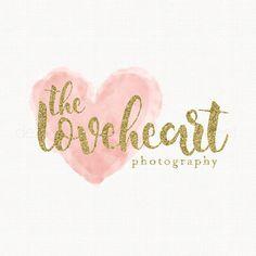 watercolor heart logo gold glitter logo by stylemesweetdesign