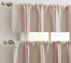 French Stripe Cafe Curtain - traditional - curtains - Pottery Barn this is the fabric for the kitchen curtains Striped Curtains, Red Curtains, Cottage Curtains, Pottery Barn Furniture, Home Furniture, Cafe Curtains Kitchen, Kitchen Windows, Barn Cafe, Traditional Curtains