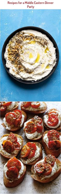Za'atar Roasted Tomatoes Crostini Cardamon Recipes, Roasted Tomatoes, Dinner, Party, Food, Fiesta Party, Suppers, Essen, Receptions