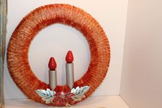 """Vintage Two Candle Light Red / pink Chenille Wreath Cloth Cord in BOX Works 11"""" #Chenille"""