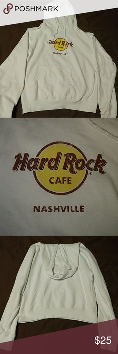 Hard Rock Cafe sweatshirt Bought at the Hard Rock Cafe in Nashville, TN. White sweatshirt with cafe logo in center. The sizing tag is cut out of it, but I'd say it's a Medium. NEVER WORN!!! Thought I would wear it, but I was too afraid of getting it dirty (OCD) so it's just been laying around for years! Excellent condition! Hard Rock Cafe Tops Sweatshirts & Hoodies