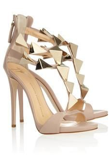 Giuseppe Zanotti.   #Heels #Shoes #Gold #Bridal #Wedding #www.celebritystyleweddings.com @Celebrity Style Weddings