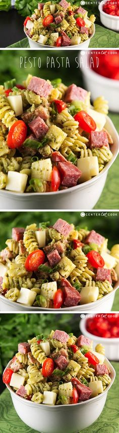 An easy Pesto Pasta Salad recipe tossed with creamy basil pesto dressing, grape tomatoes, chunks of salami, and cubed mozzarella cheese. The perfect summer side dish great for BBQs or potlucks!