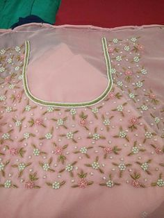 End Customization with Hand Embroidery & beautiful Zardosi Art by Expert & Experienced Artist That reflect in Blouse , Lehenga & Sarees Designer creativity that will sunshine You & your Party. Embroidery On Kurtis, Hand Embroidery Dress, Kurti Embroidery Design, Couture Embroidery, Hand Embroidery Designs, Beaded Embroidery, Dress Neck Designs, Bridal Blouse Designs, Churidar Designs
