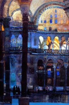 Jean Martin hagia sophia istanbul 71 x 49 cms Abstract Geometric Art, Abstract Landscape, Landscape Paintings, Sacred Architecture, Arabic Art, A Level Art, Canvas Artwork, Beautiful Paintings, Graphic Illustration