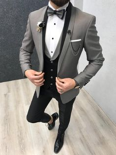 Size Suit material: Satin Fabric, Lycra washable : No Fitting :Slim-fit Remarks: Dry Cleaner Season : 2019 Spring Wedding Season wedding suits for men Cristian Gray Tuxedo Dress Suits For Men, Men's Suits, Cool Suits, Men Dress, Prom Suits For Men, Wedding Dresses Men Indian, Wedding Dress Men, Wedding Men, Grey Tuxedo Wedding