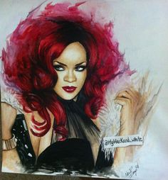 Painting of Rihanna. Done with watercolor.