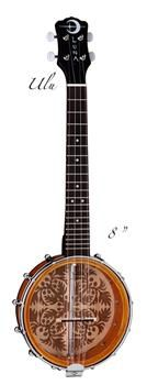 """The Luna Banjolele Ulu features a laser etched design, 8"""" soprano resonator, rosewood fretboard and a mahogany neck."""