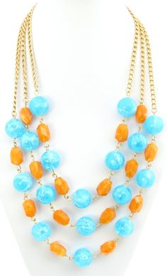 Statement Necklace Orange and Blue Lucite by LucidDreamsJewelry, $53.00