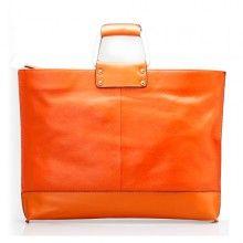 leather womens handbags: 14 inch orange / yellow / black leather crossbody shoulder laptop bag for women & ladies & men