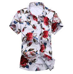 Flower Shirt Mens, Green T Shirt Mens, Mens Clothing Trends, Trendy Clothing, Men's Clothing, Slim Fit Casual Shirts, Moda Casual, Business Shirts, Plaid Shirts