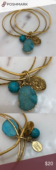 "Susan Shaw bracelets Beautiful 3-piece Susan Shaw bracelet set with turquoise accents, new condition, approx. 2 3/4"" diameter Susan Shaw Jewelry Bracelets"