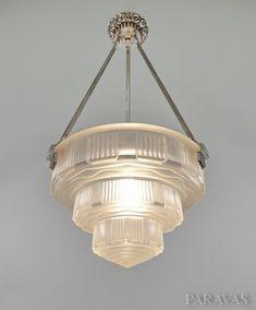 Verreries des Hanots : French 1930 art deco chandelier. (paravas-ebay)