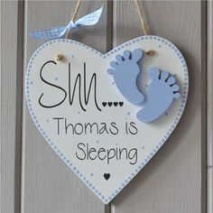 Personalised baby boy gift and Keepsake, tiny baby feet decoration Shh Baby Sleeping Plaque. Personalised baby by FabricLetterCompanyShh Baby Sleeping Plaque. Personalised baby by FabricLetterCompany Baby Boy Gifts, Gifts For Boys, Baby Shower Gifts, Baby Crafts, Diy And Crafts, Crochet For Boys, Boy Crochet, Knitted Baby, Wooden Hearts