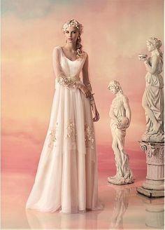Chic Tulle V-neck Neckline A-line Wedding Dresses With Handmade Flowers