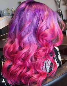 purple pink ombre dyed hair color @glamhairartist