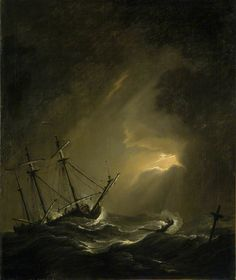 paintings of ships in storms | BBC - Your Paintings - A Small Dutch Ship Riding out a Storm