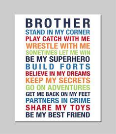 Big Brother Print Brothers Print Boy Room Decor Boys by karimachal