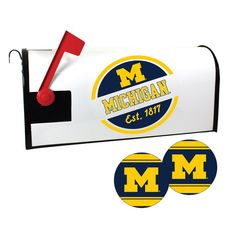 Michigan Wolverines Magnetic Mailbox Cover & Decal Set, Multicolor