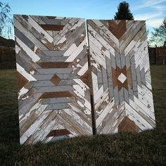 Rustedwillowart's reclaimed wood aztec patterned wall panels.