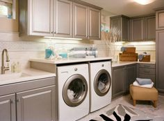 The satin finish of the cabinets matches the washer and drier's accent color.