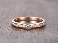 Curved Wedding Band Chevron Wedding Band,Twist Wedding Ring,Half Eternity Ring, Art Deco Band,Vintage Style Stacking Ring 14K Rose Gold