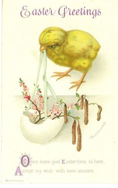INTERNATIONAL ART PUB. CO., # 419, USED, ARTIST: ELLEN CLAPSADDLE, 'EASTER GREETINGS', 'ONCE MORE GLAD EASTER TIME IS HERE, ACCEPT MY WISH WITH LOVE SINCERE.'