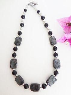 Black Onyx and Labradorite Necklace  Black by KatesCustomJewelry, $55.00