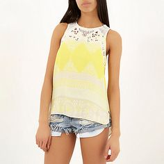 Yellow floral print embroidered neck vest £28 #riverisland #RI