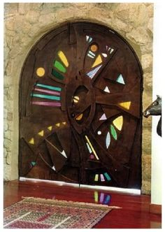 Iron Door with Stain Glass By artist Juan Carlos Nunez, Barcelona, Spain.