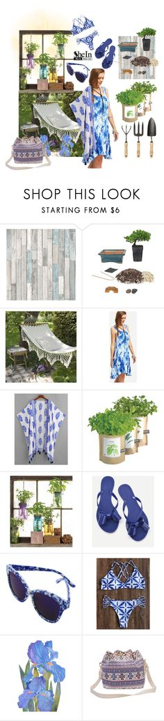 """shein the garden, China blues"" by caroline-buster-brown ❤ liked on Polyvore featuring Brewster Home Fashions, Bambeco and Modern Sprout"