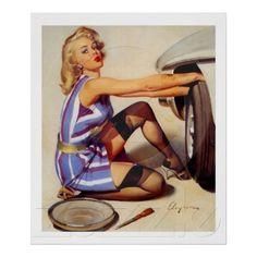 Vintage Retro Gil Elvgren Car Mechanic Pinup Girl Posters
