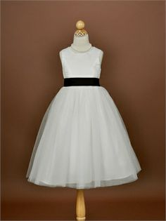 Tea Length Tulle Satin with Sash Flower Girl Dress FGD1075 www.dresseshouse.co.uk $41.0000