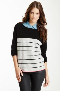 Striped Knit Cashmere Pullover by Philosophy Cashmere on @HauteLook