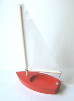 A  6..5  Wooden Toy Sailboat  for the Tub Pool or by CastineToy, $18.50