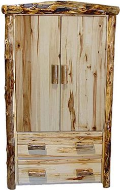Aspen Log Armoire with 2 Drawers and 2 Doors - Flat Front