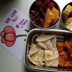 Super quick healthy lunch for the big girl: fresh tortilla with organic egg and cheddar, roasted butternut squash, Mexican-style organic corn and fruit salad of prune plums, oranges, pomegranates and raspberries. Yummers!