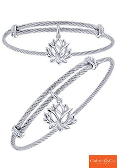 Find your happiness with this silver and stainless steel lotus bracelet from Gabriel & Co.