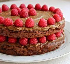 Triple Layered Chocolate Cake with Thick Frosting and Fresh Raspberries