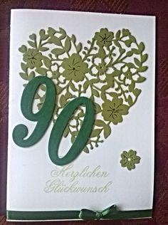 Mit Liebe selbstgemacht von Petra Heinrich. Geburtstagskarte / Birthday card.  Die Herz- Stanze ist von Stampin up Bloomin Heart Thinlit , die Zahlen sind ebenfalls von Stampin up.