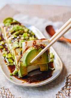 This tofu avocado salad is a no-cook, vegan, healthy recipe with an Asian dressing that can be customized to your liking! Serve as a side or light meal! Source: thewoksoflife.com Avocado Salad Recipes, Tofu Recipes, Entree Recipes, Quick Recipes, Healthy Recipes, Asian Recipes, Healthy Fats, Quick Meals, Healthy Eating