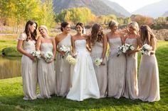 Bride and bridesmaids at this fall wedding in Aspen at the Aspen Meadows Resort.  Ira Lippke Studios