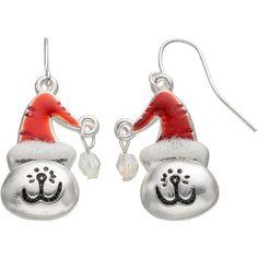 Santa Hat Cat Drop Earrings ($4) ❤ liked on Polyvore featuring jewelry, earrings, multicolor, metal earrings, beading earrings, clear drop earrings, multi color earrings and party earrings