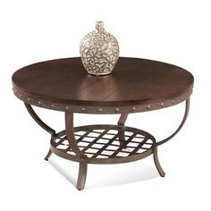 Bassett Mirror Company -Bassett Mirror T2531-120 Sierra Round Cocktail Table in Wood & Metal