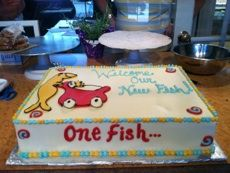 Dr. Seuss Baby Shower Cake.  One Fish, Two Fish, Red Fish, Blue Fish