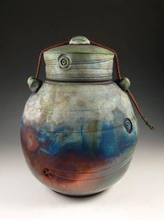 "Handmade Raku Style Cremation Urns For Ashes tagged ""Raku"" Keepsake Urns, Raku Pottery, Pet Urns, Cremation Urns, Natural Leather, Cosmic, Stoneware, Glaze, Ceramics"