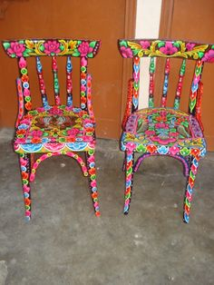 2 painted chairs