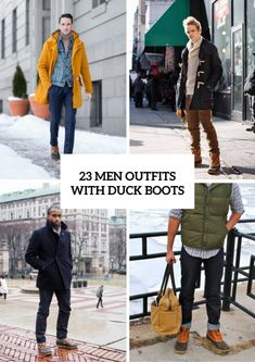 23 Men Outfits With Duck Boots For This Winter - Styleoholic Bean Boots Outfit, Bean Boots Men, Bootfahren Outfit, Duck Boots Mens, Fashion Models, Sperry Duck Boots, Herren Winter, Fashion Looks, Herren Outfit