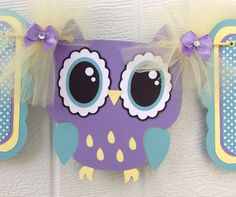 Purple owl baby shower banner it's a girl by NancysBannerBoutique,