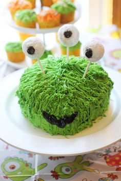 Monster Cake! So making a 'cake' like this for Eli but using a dairy free brownie receipe and no bake energy balls rolled in coconut for the eyes